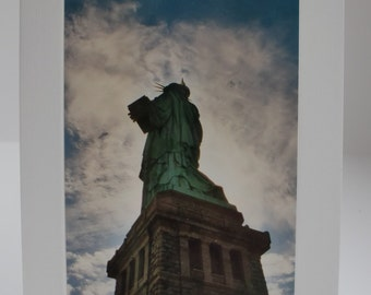 Lady Liberty Note Card / Statue of Liberty photo notecard, Blank Note Card with envelope, Welcome to New York, 5x7 photo stationery