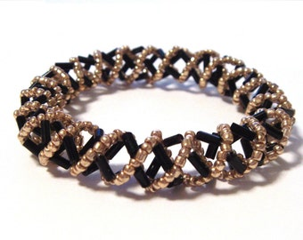 Black and Gold Spiral Bangle
