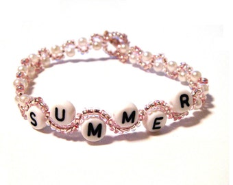 Personalized Pink Swirly Pearl Name Bracelet