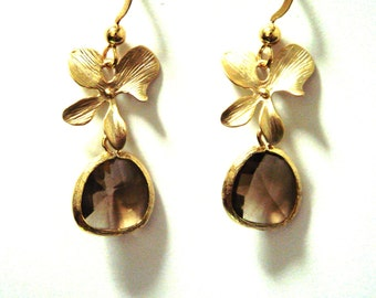 Topaz Gem adorned with Orchid Flowers Earrings