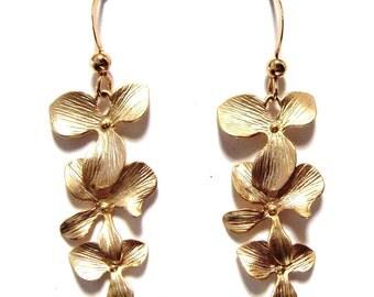 Triple Gold Orchid Dangling Earrings