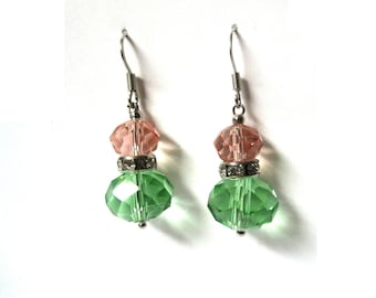 Strawberry and Kiwi Swarovski Crystal Earrings