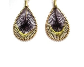 Purple and Gold Threaded Earrings