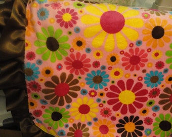 Minky Blanket w/ beautiful bright flowers & satin on the other with brown ruffled ribbon