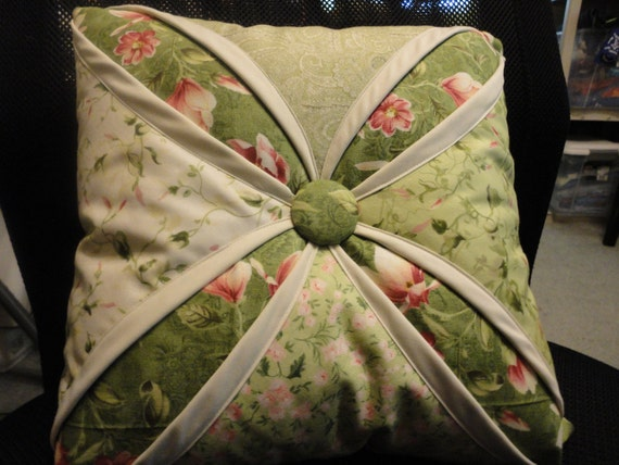 Sale Cathedral Window complete pillow in springtime greens and pinks