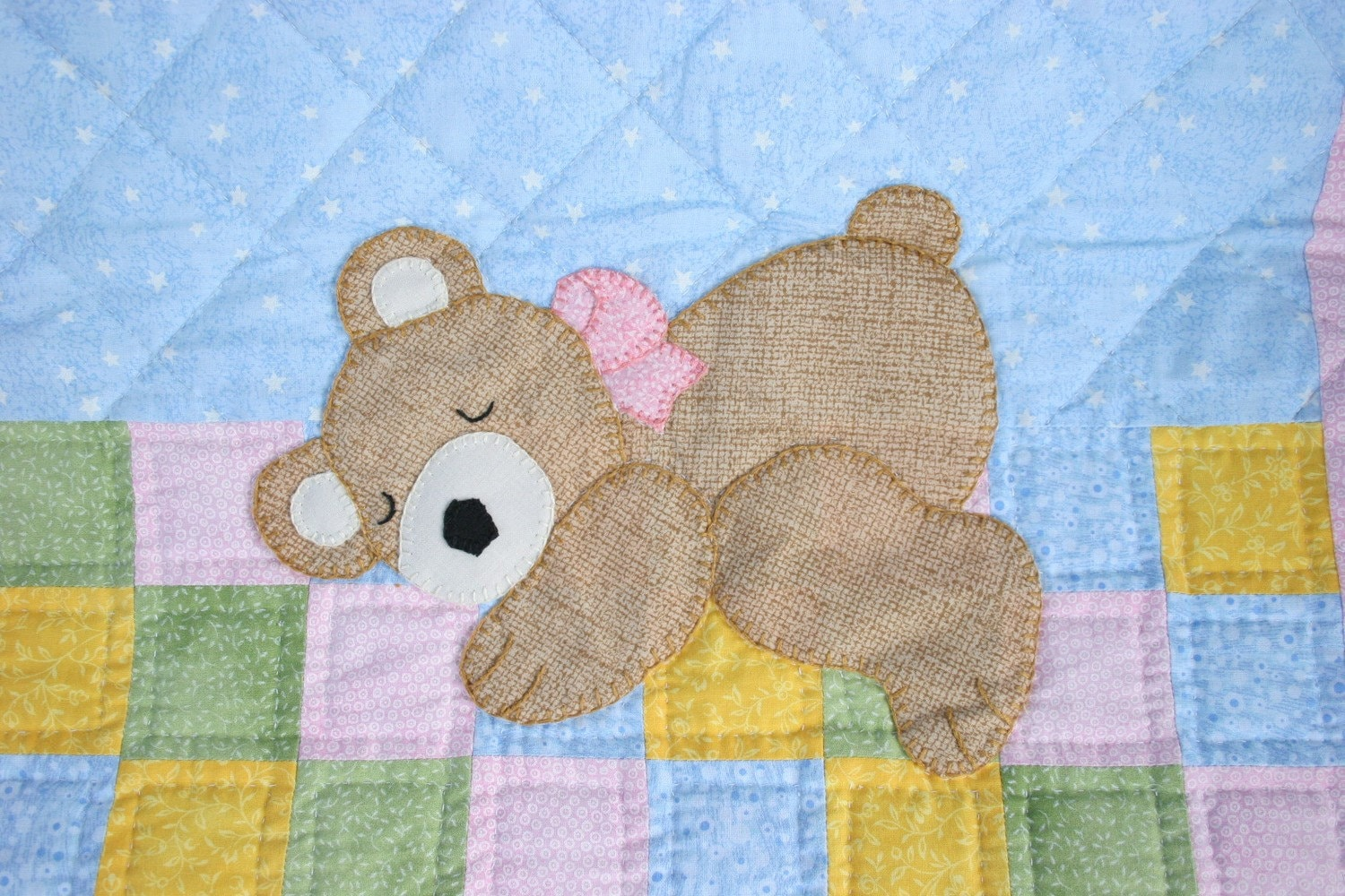 Hand Quilted Hand Appliqued Baby Bear Sleeping Hand Quilted