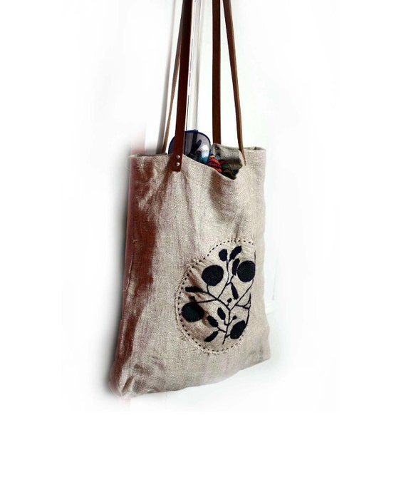 Stockholm Linen Bag with Hand Embroidery, Leather Straps.