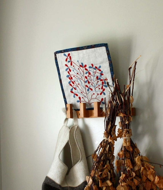 Tree of Life Folk Embroidery by ProjectSarafan. Linen and Vintage Fabrics. Naive. Traditional.