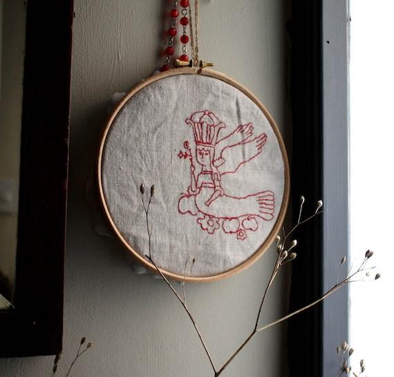 Modern Embroidery in Hoop. Wall Hanging. Folk. Handmade Unique