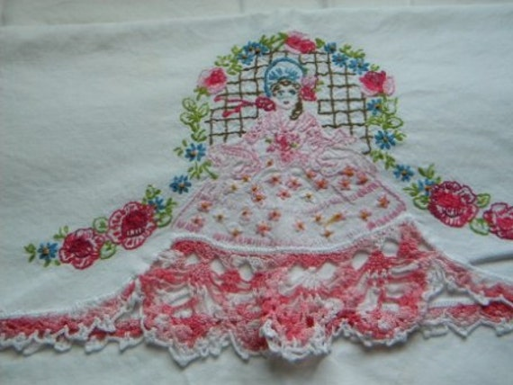 Vintage Hand Sewn Hand Crocheted Standard Pillow Cases