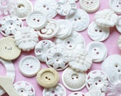 White Frilly Buttons from the 50s and 60s