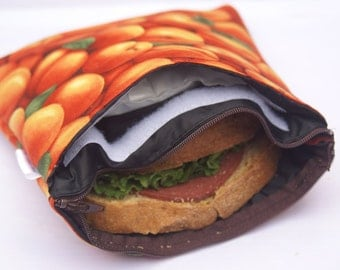 """8"""" x 8"""" Insulated & Zippered Reusable Sandwich Bags with Pocket and Cool Pack - Apricot Print"""