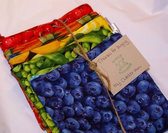 Set of 5 Reusable Zippered Sandwich Bags - Two Layers of Rip Stop Nylon or PUL - Choose From Many Fruit, Veggie, Snack or Patterned Fabrics
