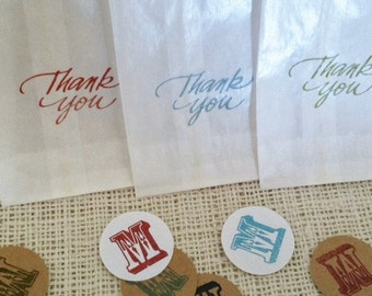 Thank You Favor Bags Glassine with Monogram Sticker Seals 3 X 5.5 inches Set of 10