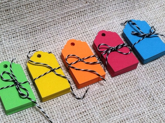 Neon Rainbow Tags Set of 100