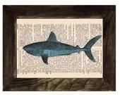 Spring Sale Book Print Dictionary Shark Encyclopedia Page Print- Book print Shark Print on Vintage Dictionary Book art BPSL085
