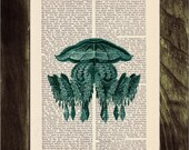 Vintage Book Print Dictionary or Encyclopedia Page Print- Book print Jellyfish I Original  Vintage Design Print on Old Bookart art BPSL101