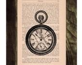 Vintage Book pocket watch Print Dictionary or Encyclopedia Page Print- Book print Pocket Watch Print on Vintage Book art BPTV090