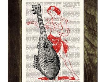 Summer Sale Ukelele Upcycled Dictionary Page Upcycled Book Art Upcycled  Print Vintage Art Print Ukelele Lady Print SEA028