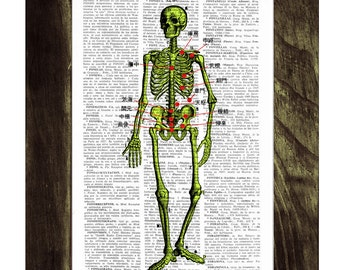 Summer Sale Skeleton acupuncture points Print on Vintage Book Old book print SKA002