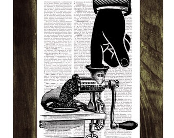 Summer Sale dictionary  print - house wall art OUCH - Upcycled art collage book print SKA076
