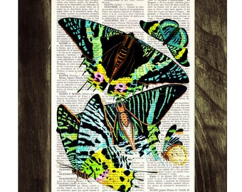 Summer Sale Neon Butterflies collage Dictionary Book Print - Altered art on upcycled book pages BFL030