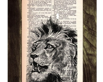 Summer Sale Lion King print on Dictionary Book Print - Altered art on upcycled book pages ANI165