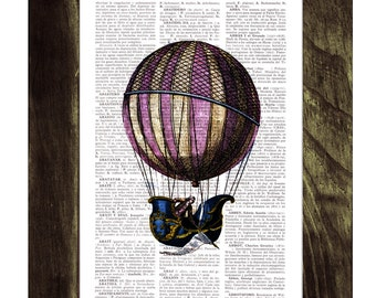 Dictionary or Encyclopedia Page Print- Book print Fantastic hot air balloon Balloon Print on Vintage Book art TVH122