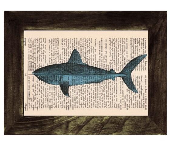 Book Print Dictionary Shark Encyclopedia Page Print- Book print Shark Print on Vintage Dictionary Book art BPSL085