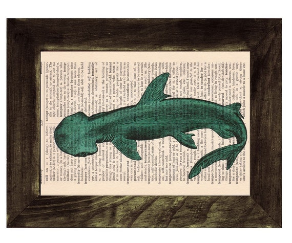 Spring Sale Vintage Book Print Dictionary or Encyclopedia Page Book print Shovelhead Shark Print on Vintage Dictionary Book BPSL086