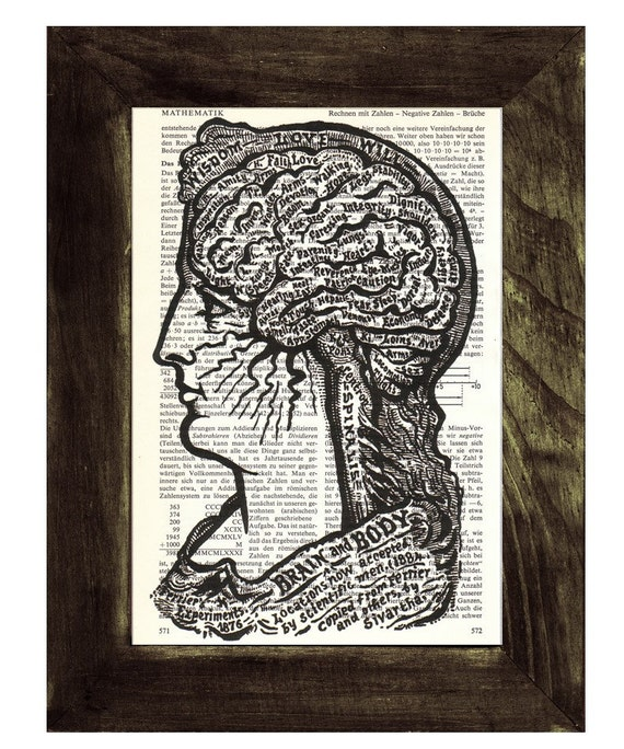 Spring Sale Upcycled Dictionary Page Upcycled Book Art Upcycled Art Book Print Print Teosophical Phrenology Brain Anatomy study BPSK086
