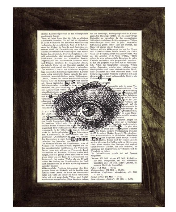 Summer Sale Upcycled Dictionary Page Upcycled Book Art Art Print Upcycled Book Print Vintage Art Print Eye Anatomy sudy SKA038