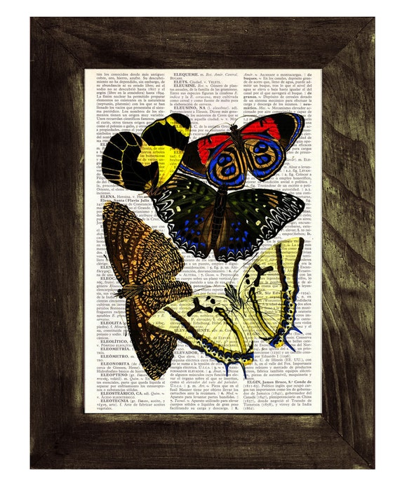 Butterflies Dictionary Book Print - Altered art on upcycled book pages BFL019