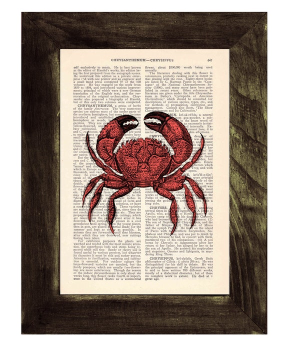 Spring Sale Book print Crab Print on Vintage Dictionary Book BPSL021