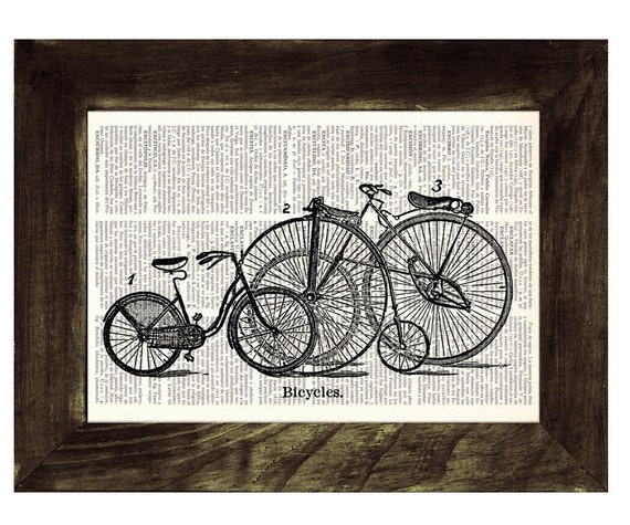 Spring Sale Vintage Book Print Dictionary or Encyclopedia Page Print Book print Old bikes Print on Vintage Dictionary Book BPTV07