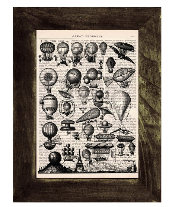 Vintage Book Print -  A lot of Balloons Print on Vintage Book art BPTV051