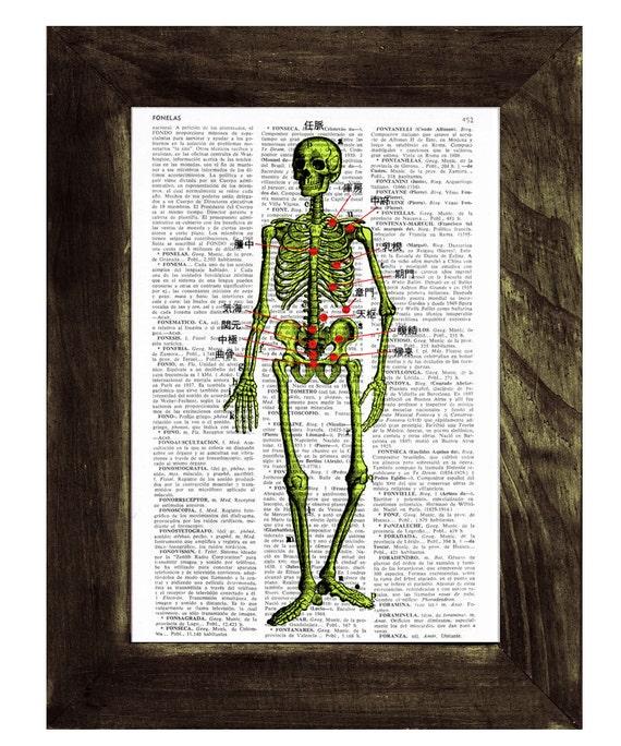 Skeleton acupuncture points Print on Vintage Book Old book print SKA002