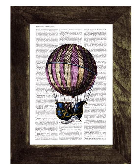 Christmas Sale Dictionary or Encyclopedia Page Print- Book print Fantastic hot air balloon Balloon Print on Vintage Book art TVH122