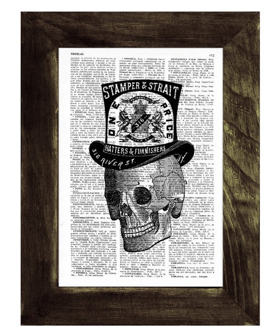 Book Print Skull with top hat- Vintage Art Print Human Skull with a Top hat- Boyfriend gift SKA015