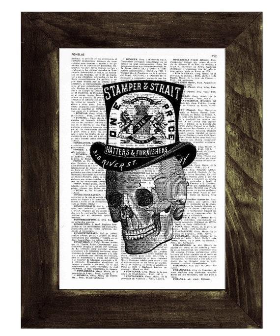 Summer Sale Book Print Skull with top hat- Vintage Art Print Human Skull with a Top hat- Boyfriend gift SKA015