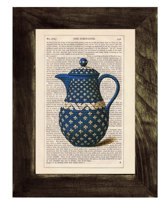 Spring Sale Vintage Blue Tea pot printed on dictionary book page- Upcycled art BPTV075
