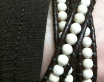 Riverstone Leather Wrap Bracelet