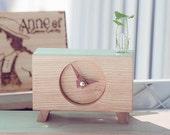Hand made- Ash wood Clock Desk clock - Leg