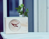 Hand made- Ash wood Clock Vintage washing Desk clock-White Dream s
