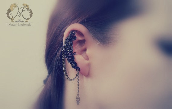 Black And Gunmetal Ear Cuff With Garnets And Bronze Elements Steampunk