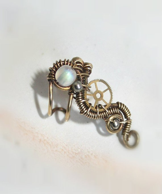 Small Steampunk Ear Cuff With Glass Bead