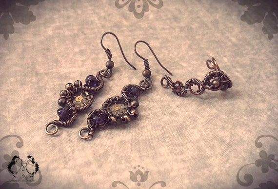 Wire Wrapped Steampunk Copper Earrings With Matching Ear Cuff