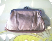 Leather retro romantic purse clutch - metallic COPPER