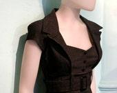 Spanish PIN UP dress in tiny BLACK and grey chevron, MaD MeN dress,retro 50s dress, black dress, grey dress,rockabilly dress, sweetheart