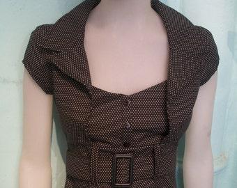 pinup dress in a cotton polka dot black & white fabric